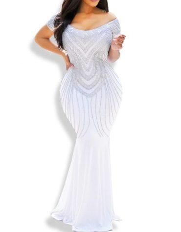Off shoulder Bridesmaids Long Formal Dresses Spandex Kaftan
