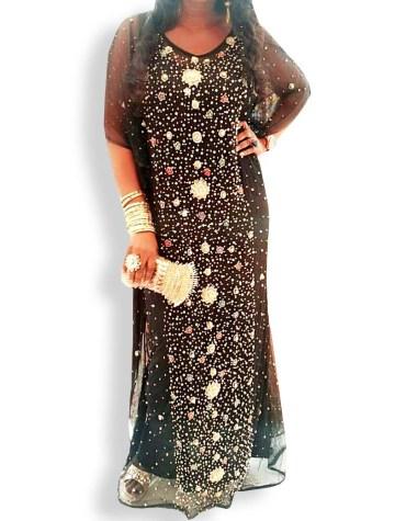 Heavy Work Golden Seed Beads Designer Round Neck Dress