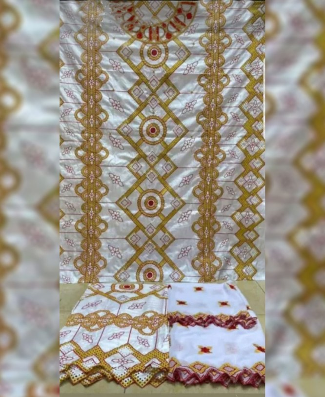 New Latest African Fully Embroidered 100% Super Magnum Gold Rich Bazin Women Dress Material