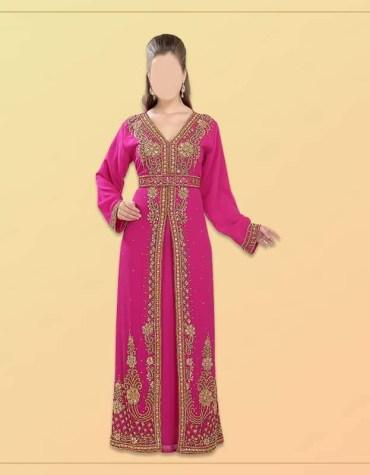 New Trendy African Attire Evening Golden Beaded Dubai Kaftan Designed for Women