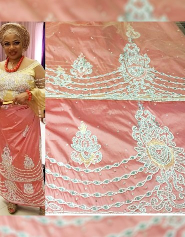 New Trendy Uniquely Designed Nigerian Beaded Tulle George Fabric Dress Material For Women