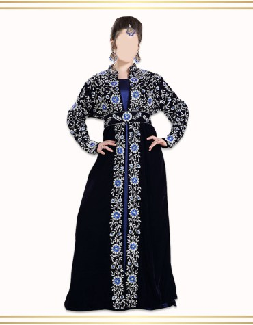 New Dubai Kaftan Attire Moroccan Abaya Golden Embroidery Velvet Party Wear
