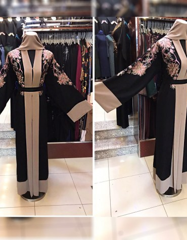 Desiger Abaya Bell Sleeves Wedding Wear Nida Fabric With Seed Bead Work For Women
