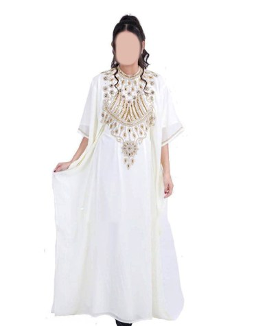 New Gold Beaded Moroccan African Dresses for women's Evening party Chiffon Kaftan