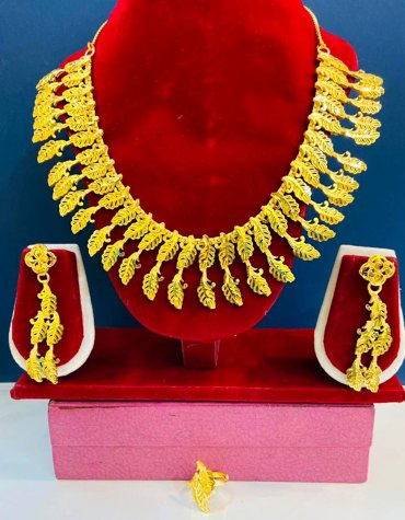 Fashionable 2 Gram Gold Designer Jewellery Necklace and Earrings Full Set For Women