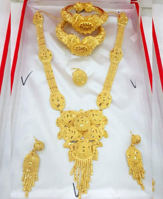 Festival Collection Gold Jewellery Necklace and Earrings With Bracelet Set For Women