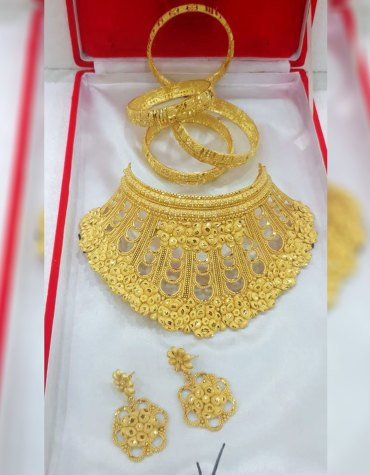 New Collection Party Wear 2 Gram Gold Jewellery Necklace and Earrings Set For Women