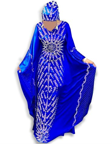 New Designer Beaded Golden Rhinestone Glosy Silk Satin Dubai Kaftan for women