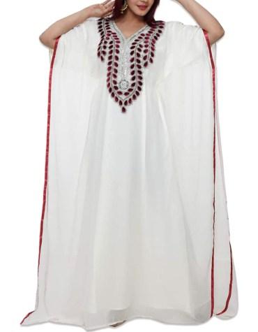 African Attire Party Wear Chiffon Kaftan with Silver Crystal Stone and Tear Drop Stone