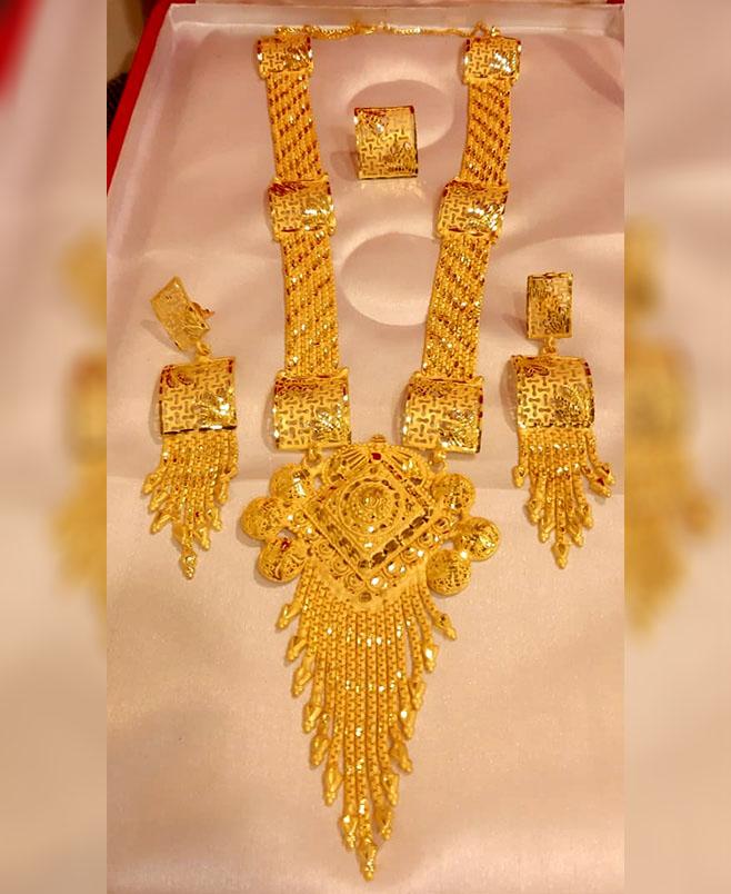 African 2 Gram Gold Designer Jewellery Necklace and Earrings Full Set For Women