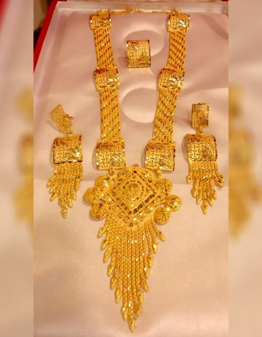 African 2 Gram Gold Designer Jewellery Necklace and Earrings Full Set For Women