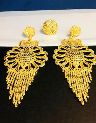 2 Gram Gold African Fashionable Earring Jewellery Full Set for Women