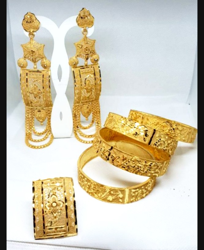 2 Gram Gold African New Party Wear Earring and Bangles Jewellery Set