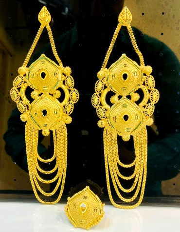 2 Gram Gold Fashionable and Trendy Party Wear Earring Jewellery Set for Women