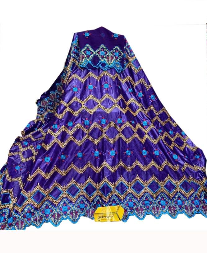 100% Super Magnum Gold Riche Bazin Multi Color Embroidery Dress Material