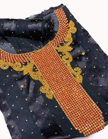 Satin Silk African Attire with Golden and Red Stone Beaded Dress Material for Women