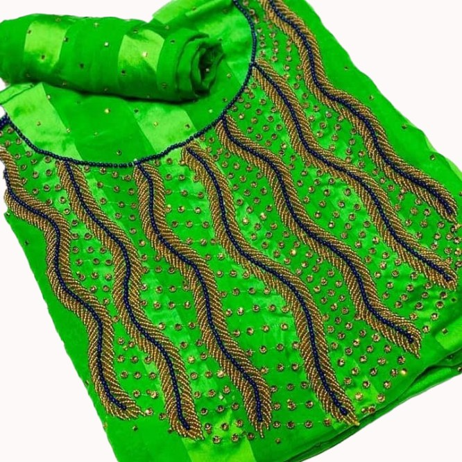 African Satin Silk Designer Dress Material with Seed Bead Work for Women