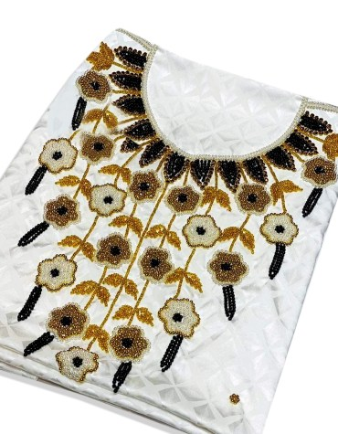 African Satin Silk Party Wear Gold and Black Seed Beaded Stunning Dress Material