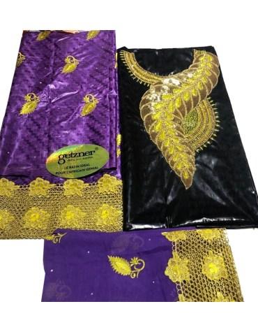 100% Super Magnum Gold Getzner Riche Bazin Golden Seed Beaded Dress Material