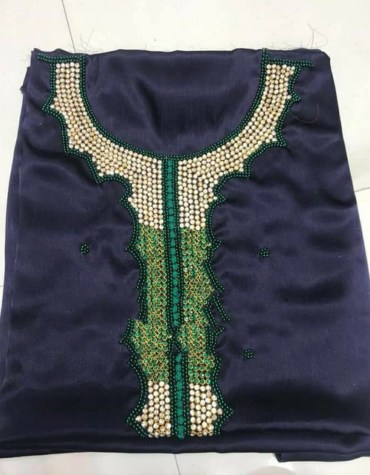 New African Attire Moroccon Designer Satin Silk Embroidered Beaded Dress Material