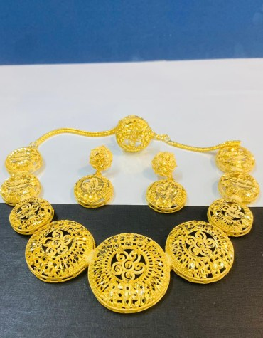 Trendy African Antique 2 Gram Gold Jewellery Necklace and Earrings Set For Women