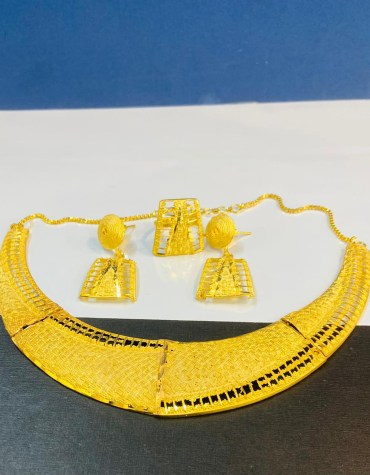 New African Unique 2 Gram Gold Jewellery Necklace and Earrings Set For Women