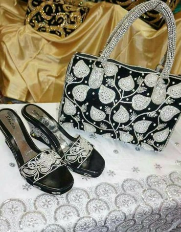 New Fancy Women's African Beaded Evening Bags party Wedding Purse with Sandal