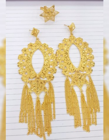 New Latest African Fancy & Latest 2 Gram Gold Wedding Party Wear Earrings & Ring for Women