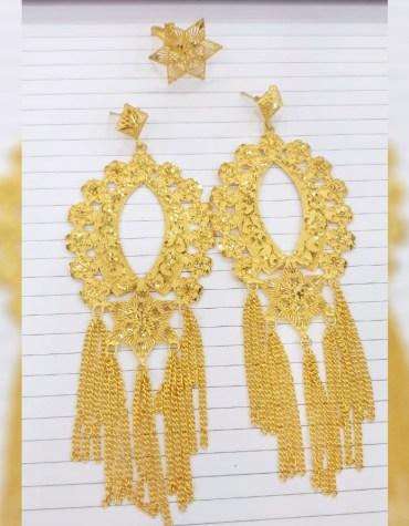New Latest African Fancy & Latest 2 Gram Gold Wedding Party Wear Earrings & Ring for Women