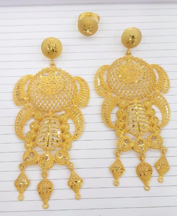 Trendy Golden Earring & Finger Ring Designer Earring Set For Wedding & Party Set For Women