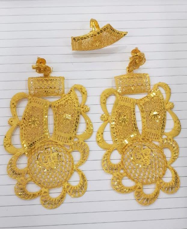 Premium 2 Gram Gold Platted Trendy Designer Earrings with Finger Ring Women Jewellery