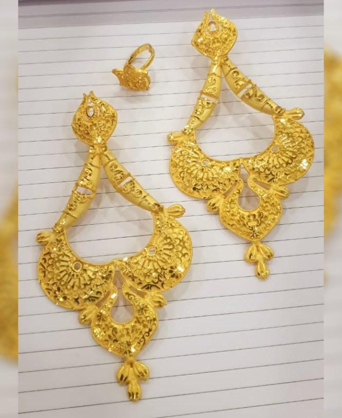 New Trendy African Fancy & Latest 2 Gram Gold Wedding Party Wear Earrings & Ring for Women