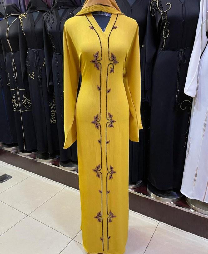 African Abaya Dress Evening Party Wear Nida Fabric Rhinestone Work For Women