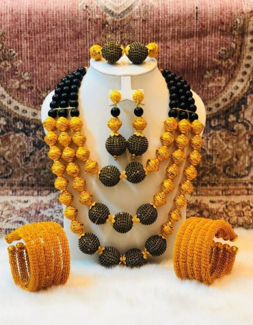 African Antique 2 Gram Gold Color Bead 4 Pieces Jewellery Set For Women