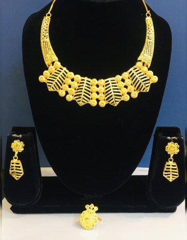 African Party Wear 2 Gram Gold Jewellery Necklace and Earrings Set For Women