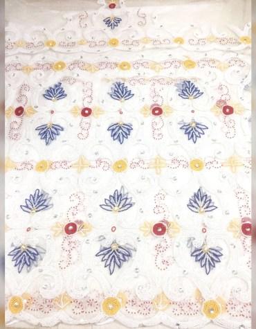 Nigerian Beaded Stone Work Wrapper Taffeta George Fabric Dress Material For Women