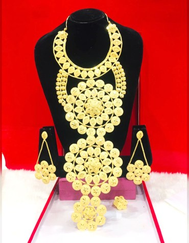 African Wedding 2 Gram Gold Necklace Pair Of Earrings & Finger Ring For Women