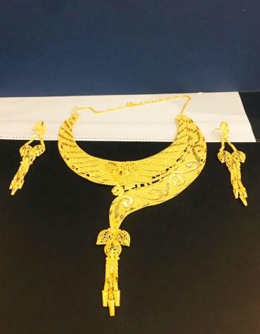 African 2 Gram Gold Choker Design Necklace & Earrings Jewellery Set for Women