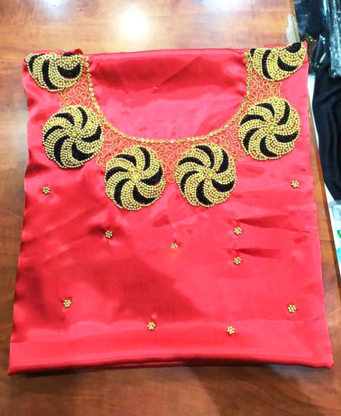 African Attire Party Wear Stone Work Satin Silk Dress Material For Women