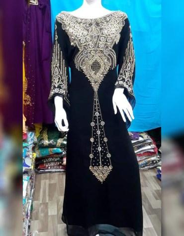 African Latest Silver Stone Work & Chiffon Fabric Material Kaftan For Women