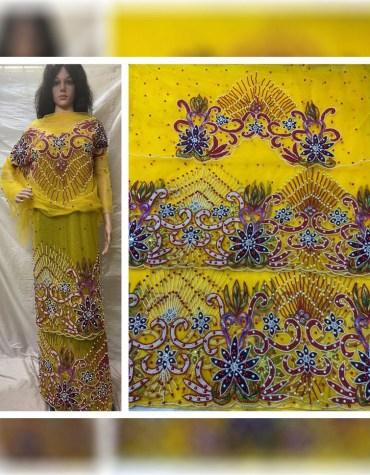 African New Nigerian Beaded Wrapper Taffeta George Fabric Women Dress Material