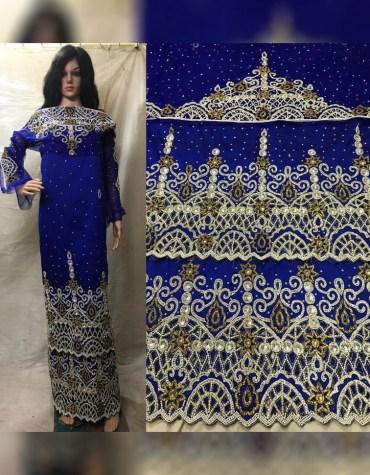 New Stylish Nigerian Beaded Wrapper Taffeta George Fabric Dress Material For Women