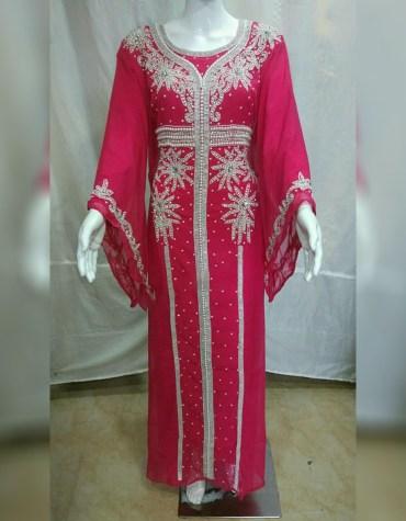 African Evening Party Wear Chiffon Kaftan Beaded Crystal Stone For Women