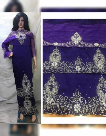African Nigerian Beaded Taffeta George Fabric Dress Material For Women