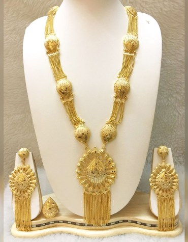 African New 2 Gram Gold Party Wear Jewellery Set Necklace Earrings For Women