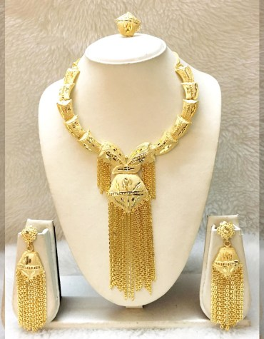 African New 2 Gram Gold Plated Jewellery Necklace Pair Of Earrings & Finger Ring