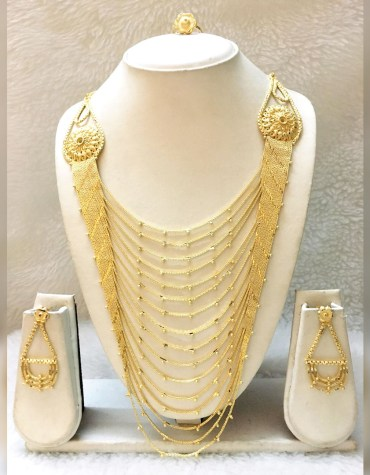 African New Elegant Design 2 Gram Gold Jewellery Necklace Set For Women