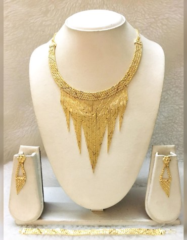 African New Stylish Design 2 Gram Gold Jewellery Necklace Set For Women