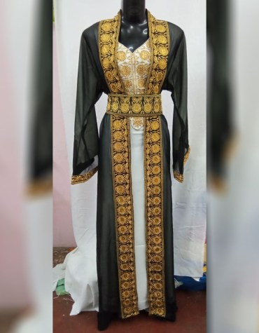 Plus Size Gold Beads Formal Kaftan with Jacket Wedding Party wear for Women