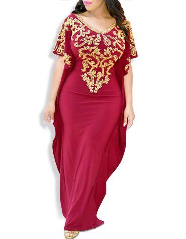 Embellished Plus Size Moroccan Stunning Premium Women Abaya Spandex Kaftan
